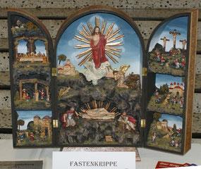 Passions- bzw. Fastenkrippe in einem Flügelaltar aus der Krippenbauwerkstätte Geboltskirchen. Foto: Herbert Klein