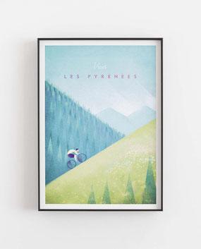 Schöne Orte Les Pyrenees Poster im skandinavischen Stil