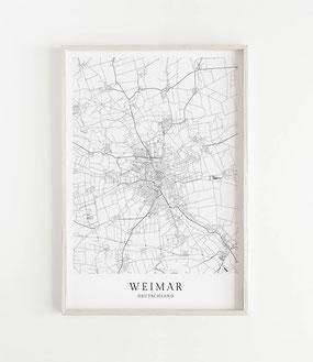 Karte als Poster von Weimar