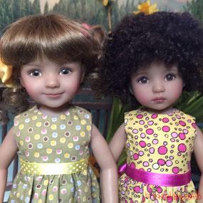 Dianna Effner Little Darling doll friends, by artisan Helen Skinner