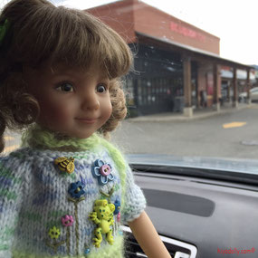 Helen Skinner's Dianna Effner Little Darling, our Tink on errands with Jackie