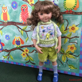 Dianna Effner Little Darling Tink dressed in a doll fashion from Maggie and Kate Create