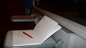Im Zug auf der Heimfahrt