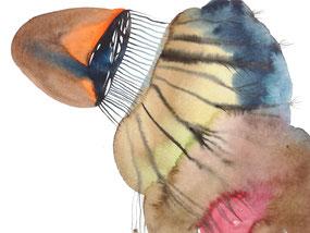 Susanne Renner: Exploration, Aquarellfarbe auf Papier, 30 x 40 cm, 2019