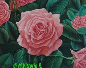 il roseto, olio su tela, cm 40x50  anno 2010