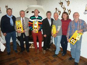 Bild von lks: Roland Stahl (2.Vors.), Otto Herbst, Willi Kanthak, Gero Fröhlich (1.Vors.), Walter Hübner, Gabi Alter (ehemalige Schatzmeisterin) und Jürgen Sablotny