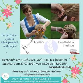 Haarflecht- und Steckkurs mit Loretta Vinko als Seminarangebot von Seminar Oberland in Lochen