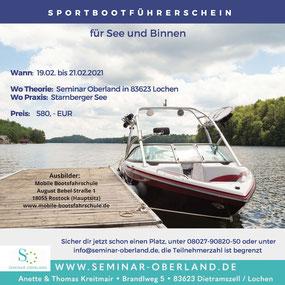 Sportboot-Führerschein für See und Binnen Seminar Oberland / Starnberger See