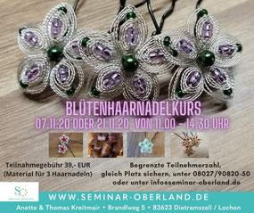 Blütenhaarnadelkurs Seminar Oberland - Kreativer Bastelkurs