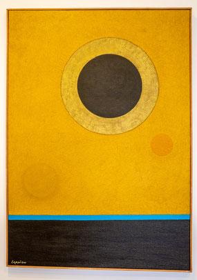 Bild: Gemälde Goldener Satellit von Jean Leppien im Musée Picasso in Antibes
