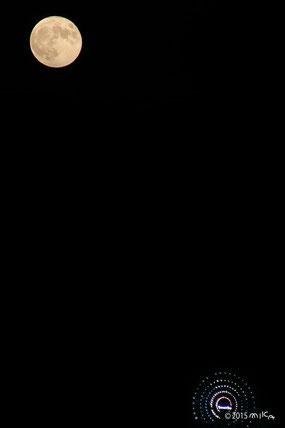 スーパームーンと観覧車(2015年9月28日18時30分頃)