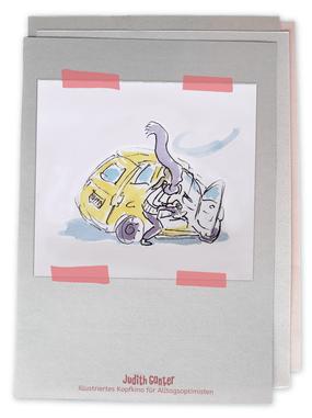 Zeichung Frau Fitito Fiat 500 gelb Schal Wind - Judith Ganter - Illustriertes Kopfkino für Alltagsoptimisten - Tagebuchprojekt Achtsamkeit - 9 KREATIVE IDEEN FÜR MEHR ACHTSAMKEIT IN DEINEM ALLTAG - INSPIRATION FÜR DEIN EIGENES TAGEBUCH