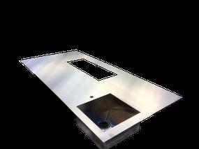 Encimera de acero inoxidable de diseño a medida