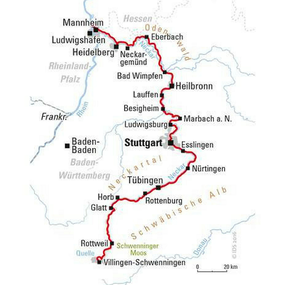 Neckarradweg Karte.Neckartal Radweg Von Schwenningen Nach Mannheim Hvp016 Heimat