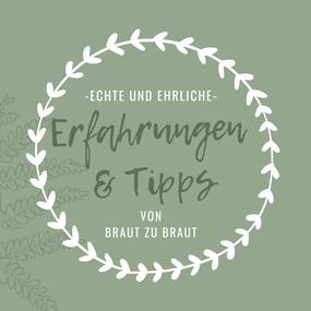 """Ein stilisierter Blumenkranz umrahmt die Schrift """"Echte und ehrliche Erfahrungen & Tipps"""" von Braut zu Braut."""