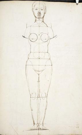 (8) Albrecht Dürer, Schizzo di corpo femminile, MS 5228 fol. 142r (retro del foglio con ricalco), British Library / Londra