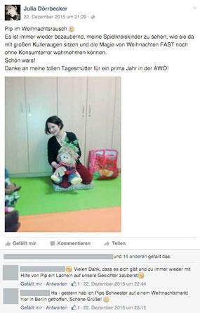 Facebookeintrag von Julia Dörrbecker