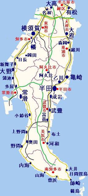 尾張国知多郡の地図の例/ Chita County, Aichi