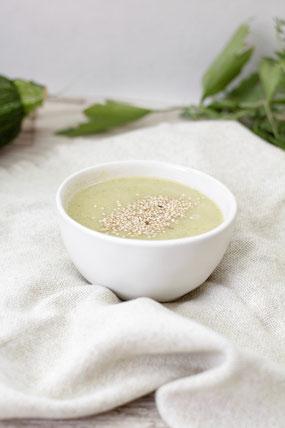 Zucchini Suppe Schafsfrischkäse