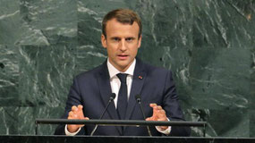 Emmanuel Macron a pris la parole dans le décor solennel des Nations Unies à New York. | Reuters