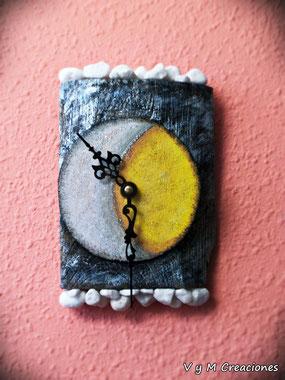 madera de mar, reloj madera de mar, eclipse, driftwood art, driftwood clock, vymcreaciones, vymcreaciones.com, etsy