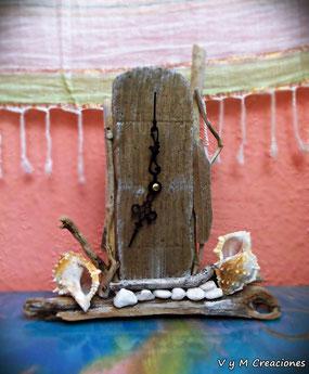 reloj madera de mar, vymcreaciones.com, vymcreaciones, etsy, reloj mesa, driftwood clock, driftwood