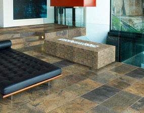 Blue and tan porcelain tiles that look like slate.