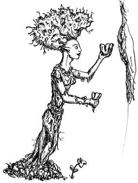 Ihr wildes Haar ist von Ästen und Laubwerk durchsetzte. Ihr Kleid besteht aus Efeuranken und anderen Wurzelwerk. Sie ist halb Mensch, halb Pflanze. Neben Dryaden gibt es Najaden und Oreaden unter den Nymphen.