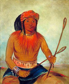 Bekannter Choctaw-Ballspieler  Tullockchisko von George Catlin