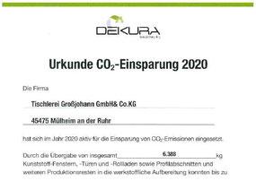 Tischlerei Großjohann, Urkunde, CO2 Einsparung, PVC Recycling, Dekura