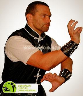 Süd Shaolin Kung Fu: Meister Heek mit einer Kung Fu Technik des Hung Gar Kung Fu (Tigerklaue, kantonesisch Fu Jau)