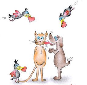 Glückwunschkarte Hund schleckt Katze Vögel mit Herzen im Schnabel