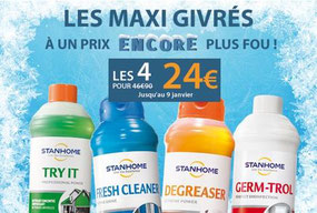Etes-vous au courant de notre offre Maxi Givrés ? C'est 4 incontournables Stanhome pour 24€ seulement. Ça, c'est du jamais vu.   Profitez-en vite auprès de votre coach.