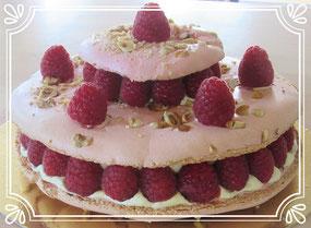 gâteau macaron framboise et crème mousseline