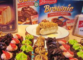 desserts à partir des gâteaux Brossard ( brownies, pain d'épices , biscuit cuiller  )