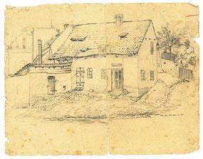 Karl Stankas Geburtshaus in Podersam. Bleistiftzeichnung von Karl Stanka. Museum Schloss Klippentein Radeberg