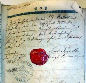 Gesindebuch-Eintrag für den Radeberger Jungen K. J. Schallert, der 1842 beim Königlichen Kammerdiener Karl Puricelli am Dresdner Hof  in Dienst war