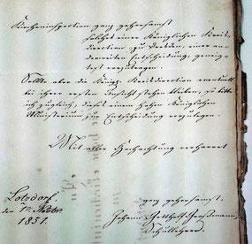 Schreiben des Lotzdorfer Schullehrers J. G. Großmann anlässlich der Schulinspektion 1851. Quelle: Stadtarchiv Radeberg