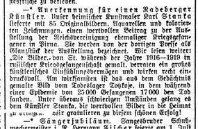 Karl Stanka - Ausstellung in Pirna 1935. Radeberger Zeitung vom 2.7.1935