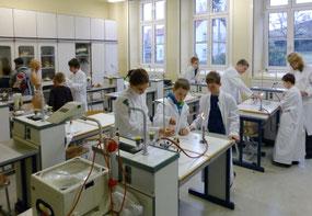 Volle Aufmerksamkeit im Chemie- und Naturkunde-Kabinett