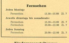 """Info über öffentliche Fernseh-Räume im """"Radeberger Kulturleben"""" Oktober 1955"""