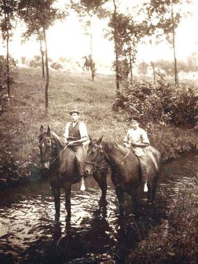 Pferdeschwemme in der Schwarzen Röder bei Kleinwolmsdorf; um 1904