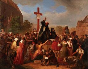 Bruder Johann Tetzel verkauft Ablässe.  Gemälde von J. D. L. F. Wagner; Wikimedia gemeinfrei