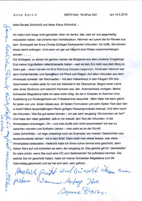 Persönlicher Brief vom Mai 2016