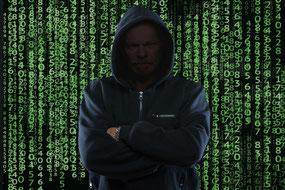 Hacker  Programm Code Binärcode Blockchain