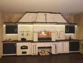 Печной комплекс барбекю с плитой под казан, мангал, вертел, генератор углей