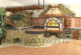 проект барбекю печного многофункционального печного комплекса под навесом: казан, мангал с приготов