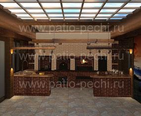 Фото печного комплекса в восточном стиле с коптильней, мангалом, вертелом, каминной вставкой, русской печью, плитой под казан