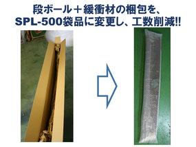 ダンボールと緩衝材の梱包を重梱包が可能なSPL-500に変更し工数を削減しました。