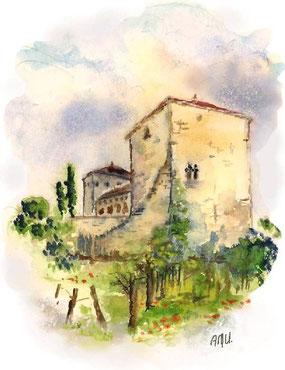 Château de Floressas - aquarelle©A-M Uyttenbroeck